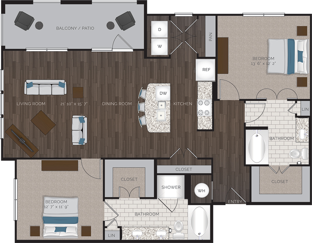 1,312 sq. ft. B3.1 floor plan
