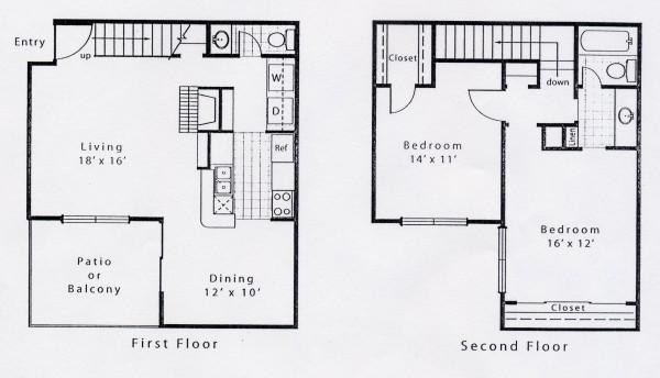1,109 sq. ft. AD floor plan