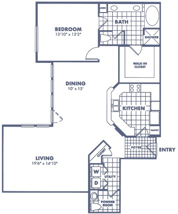 1,300 sq. ft. A2 floor plan