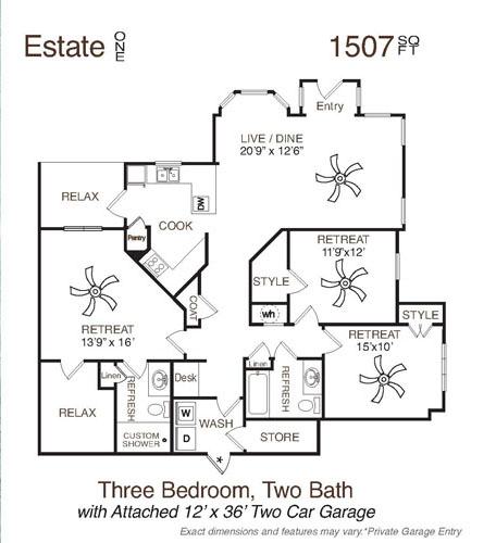 1,507 sq. ft. Estate One floor plan