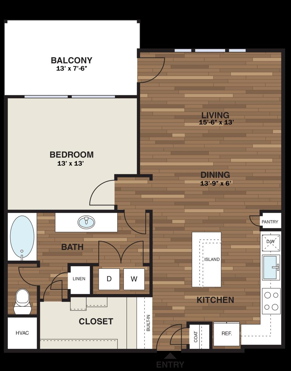 904 sq. ft. A15G floor plan