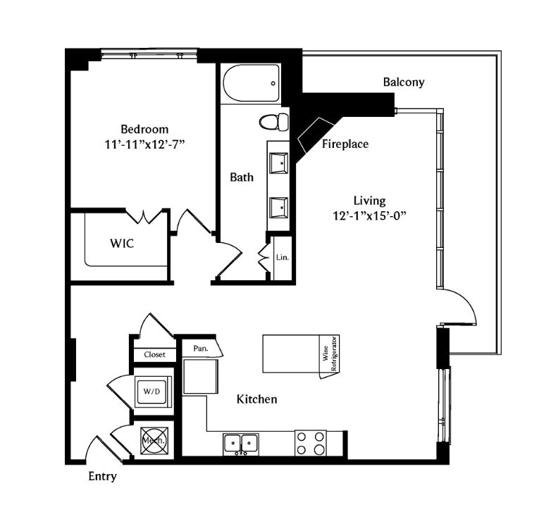 982 sq. ft. A6A floor plan