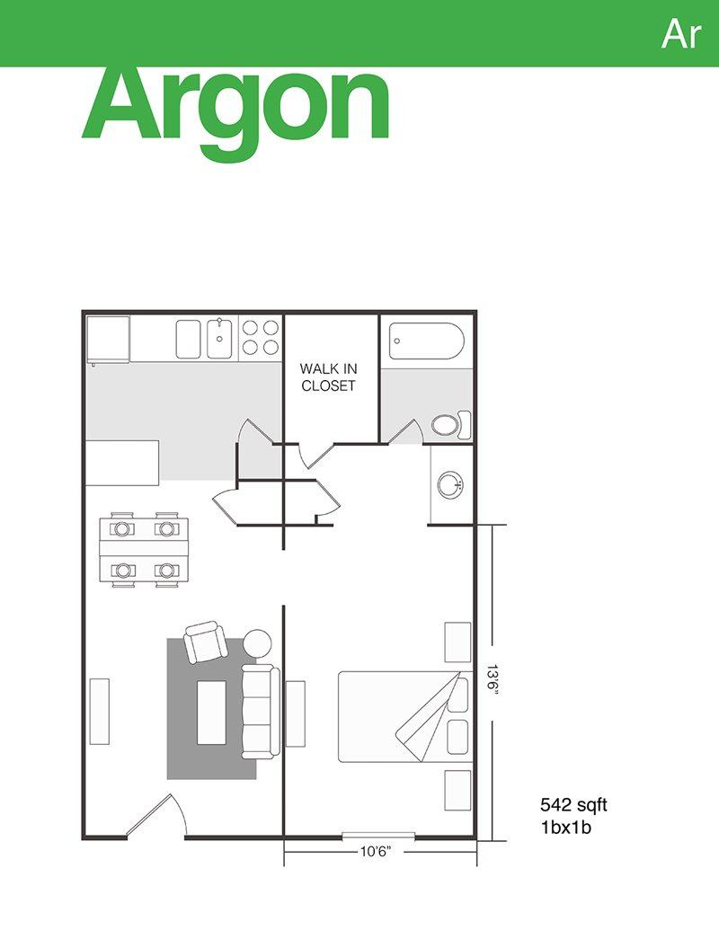 542 sq. ft. Argon floor plan