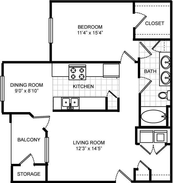 850 sq. ft. Islander floor plan