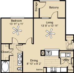 797 sq. ft. A3 extended floor plan