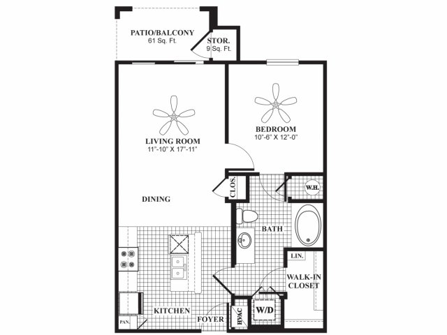 700 sq. ft. A1HC floor plan