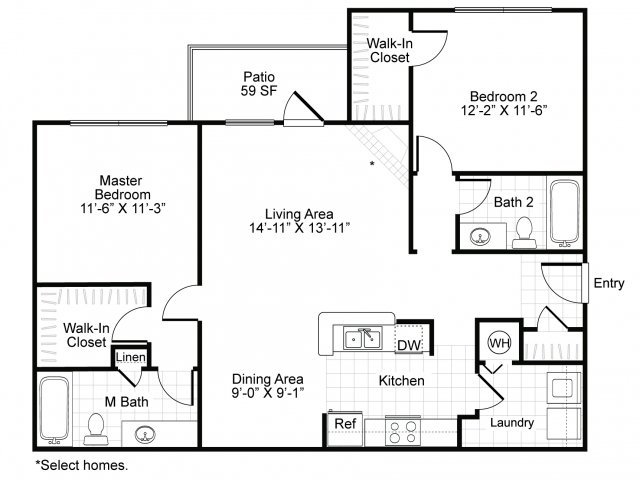 1,127 sq. ft. B2 floor plan
