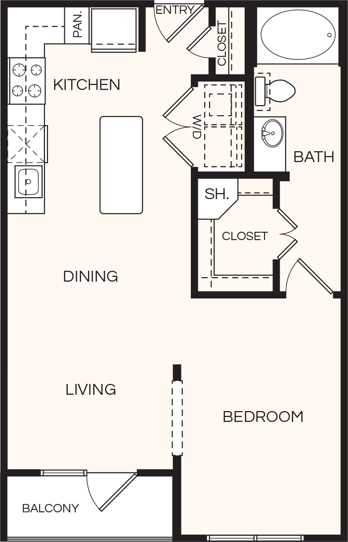 655 sq. ft. A00 floor plan