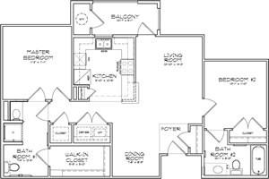 971 sq. ft. Verona 50% floor plan