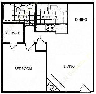 656 sq. ft. A2 floor plan