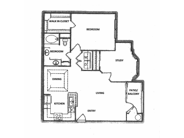 919 sq. ft. A6 floor plan