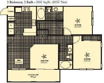 1,055 sq. ft. floor plan