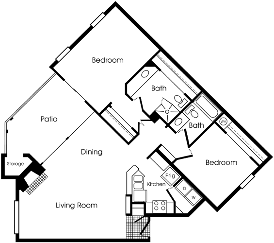 1,071 sq. ft. 2B floor plan