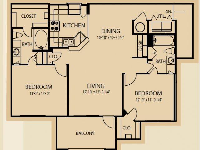 1,225 sq. ft. B7 floor plan