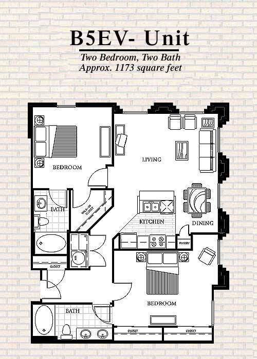 1,173 sq. ft. B5 floor plan