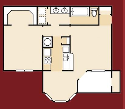 742 sq. ft. A4SQ floor plan