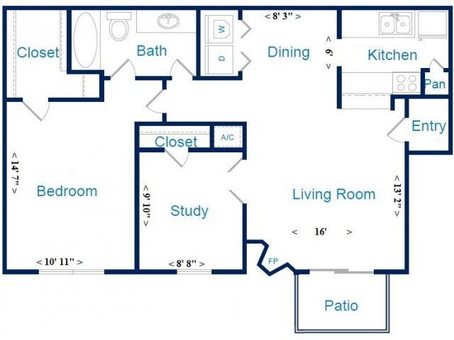 833 sq. ft. E w/ Study floor plan