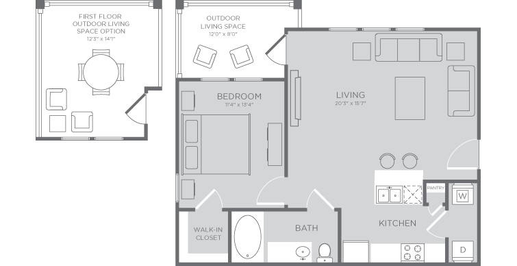 703 sq. ft. Coral floor plan
