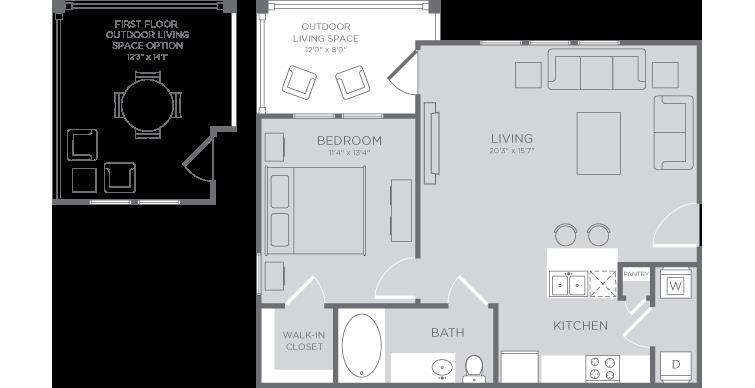 703 sq. ft. Coral floor plan