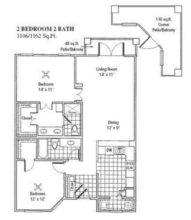 1,058 sq. ft. H/I floor plan