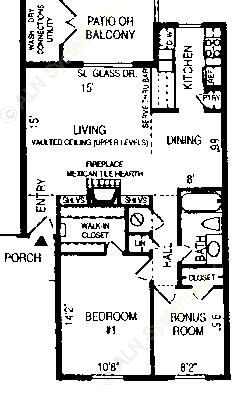 870 sq. ft. Sebastine floor plan
