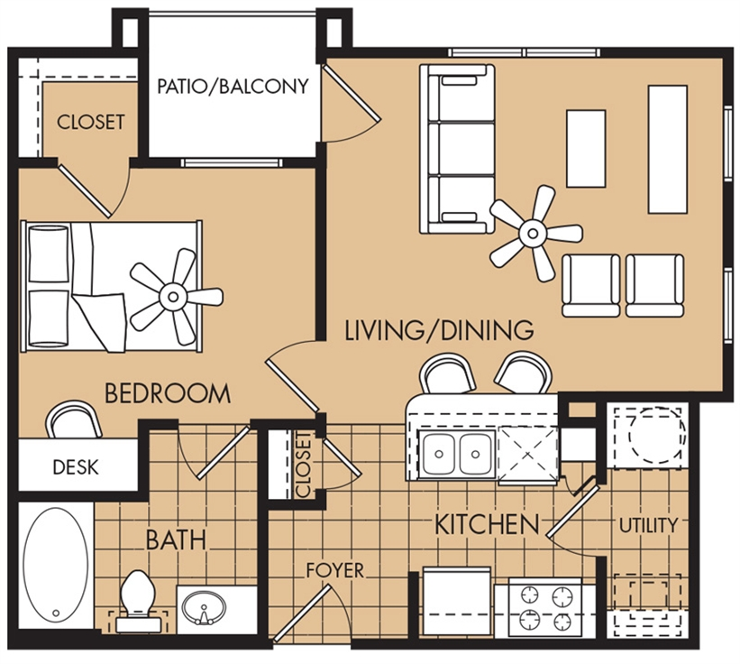 624 sq. ft. Loblolly floor plan