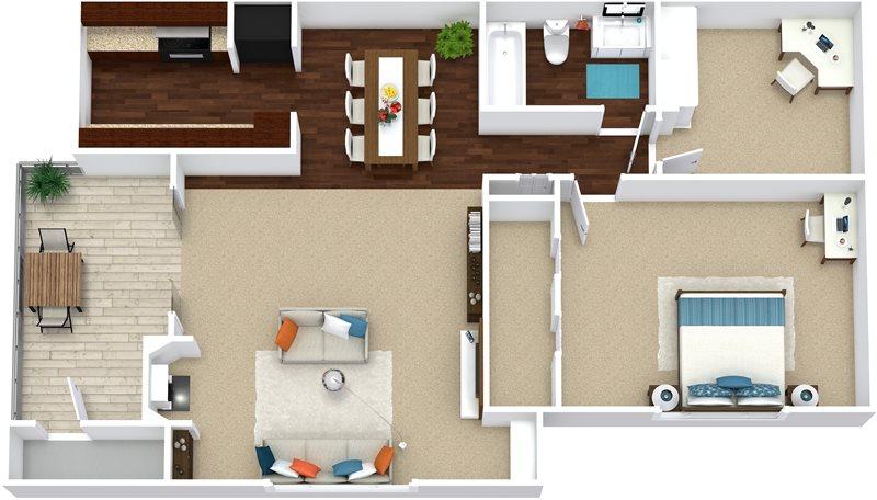 790 sq. ft. A3 floor plan