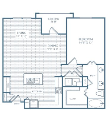 906 sq. ft. A9 Purcell floor plan