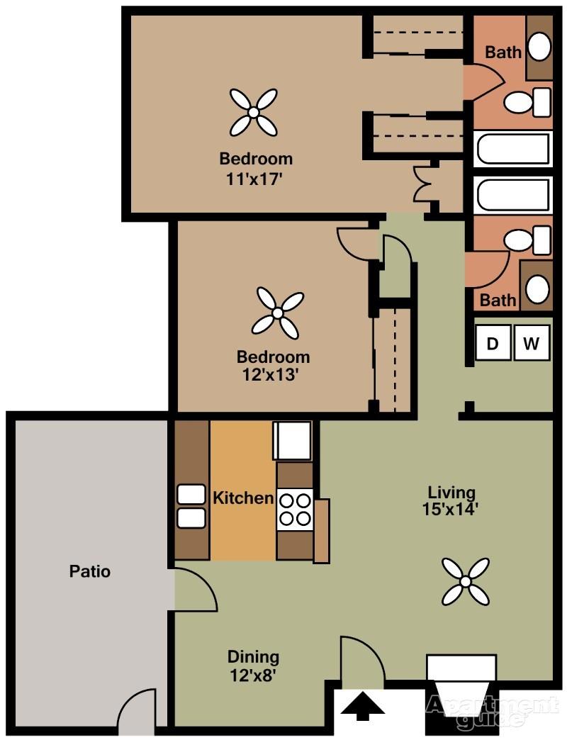 980 sq. ft. G floor plan