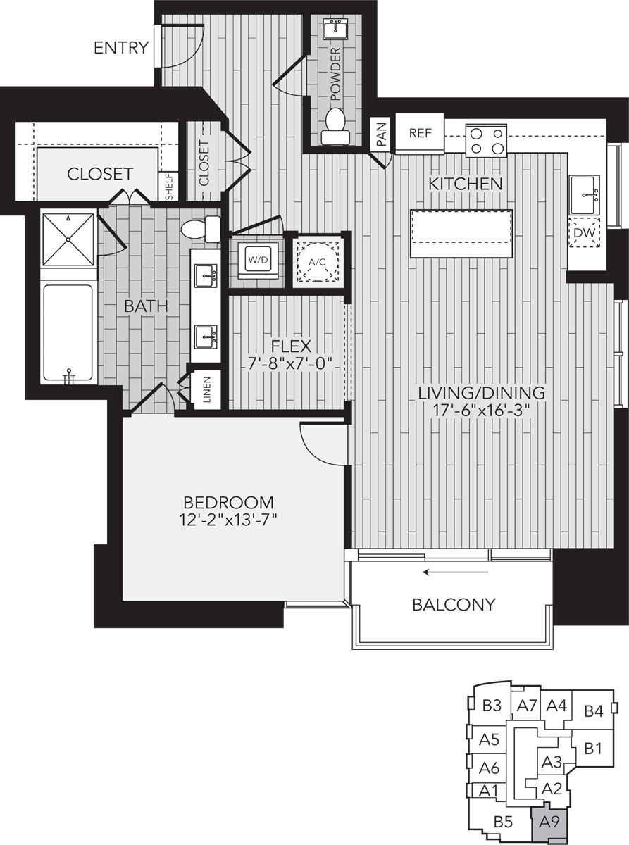 1,189 sq. ft. A9 floor plan