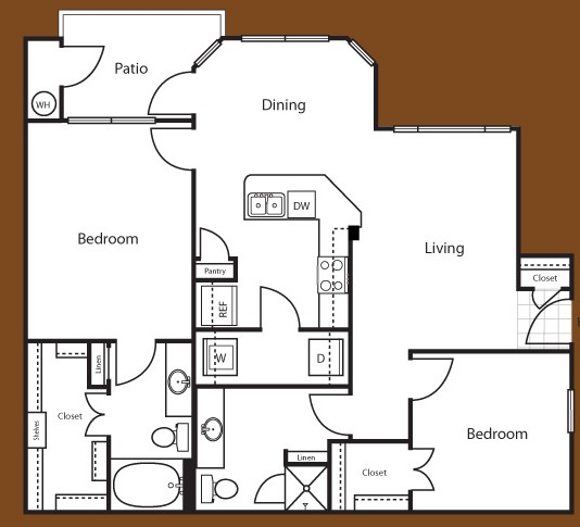 1,101 sq. ft. Barcelona floor plan
