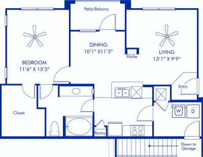 865 sq. ft. to 898 sq. ft. Normandy floor plan