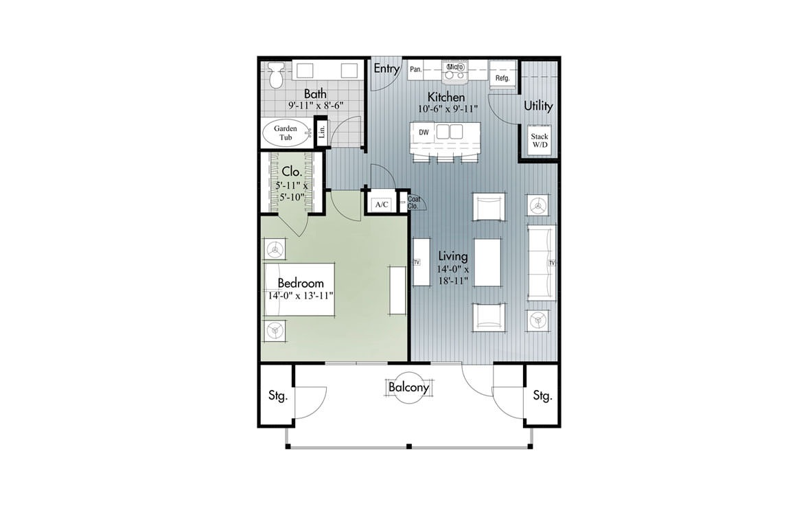847 sq. ft. A3 floor plan