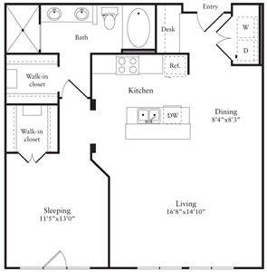 891 sq. ft. K floor plan