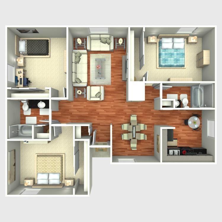 1,200 sq. ft. C1 floor plan