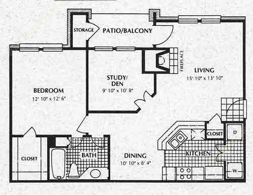 812 sq. ft. A4 floor plan