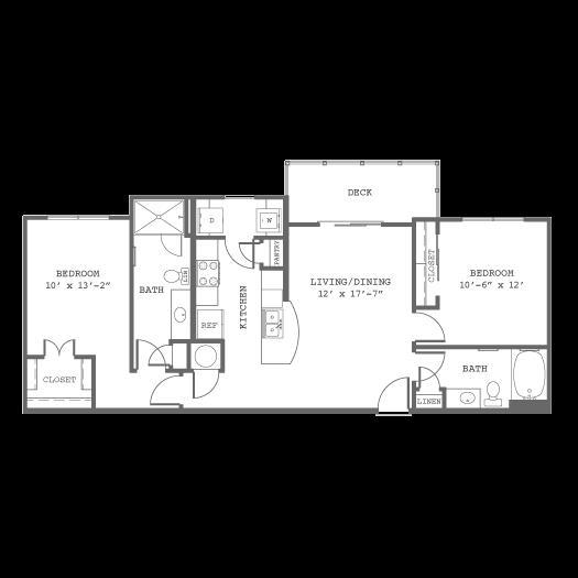 1,144 sq. ft. B6 floor plan