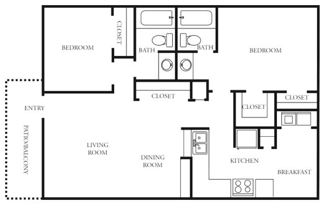 1,000 sq. ft. to 1,021 sq. ft. H floor plan