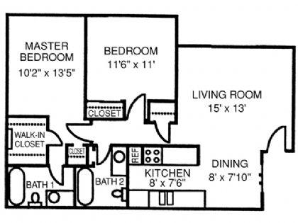891 sq. ft. Sherwood floor plan