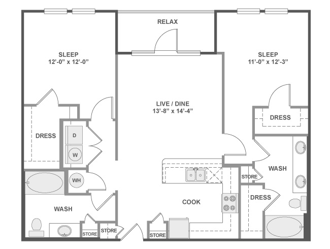 1,083 sq. ft. C4A floor plan