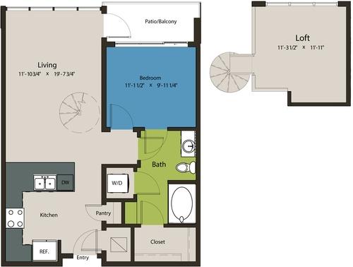 877 sq. ft. A8N-L1 floor plan