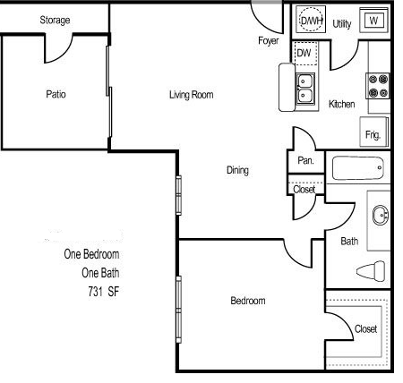731 sq. ft. BELIZE floor plan