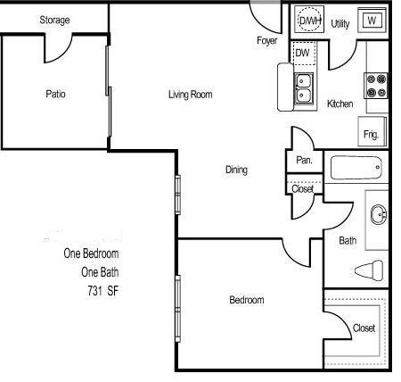731 sq. ft. BELIZE floor plan