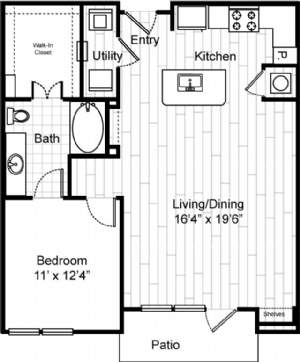 868 sq. ft. A6 floor plan
