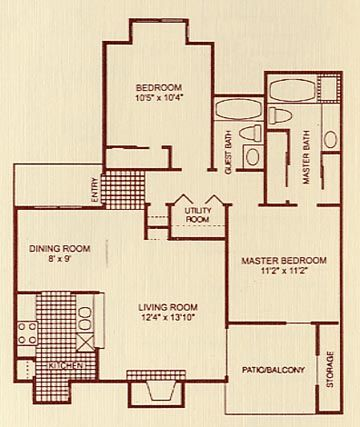 1,000 sq. ft. 2A floor plan