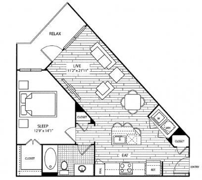 749 sq. ft. A3 floor plan