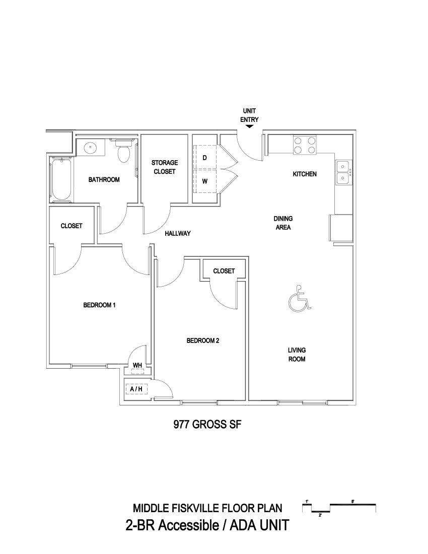 977 sq. ft. ADA/60% floor plan