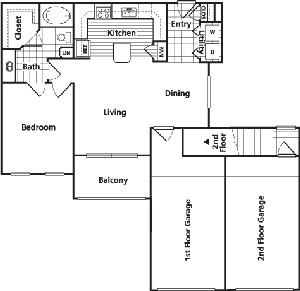 779 sq. ft. BG1 floor plan
