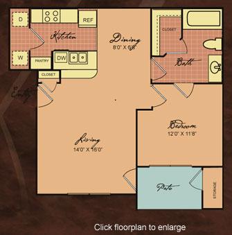 717 sq. ft. 60-SAN JOSE floor plan