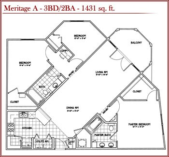 1,431 sq. ft. Meritage A floor plan